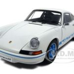1973 Porsche 911 Carrera RS 2.7 White With Blue Stripes 1/18 Diecast Model Car by Autoart