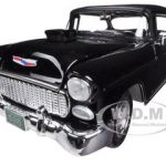 1955 Chevrolet Bel Air Hard Top Black Custom 1/18 Diecast Model Car by Motormax