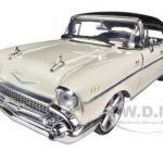 1957 Chevrolet Bel Air Hard Top Cream With Custom Wheels 1/18 Diecast Model Car by Motormax
