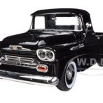 1958 Chevrolet Apache Fleetside Pickup Truck Black 1/24 Diecast Model by Motormax