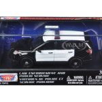 2015 Ford Police Interceptor Utility Plain Black and White Car In Display Showcase 1/43 Diecast Model Car by Motormax
