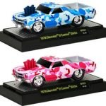 Wild Cards 1970 Chevrolet El Camino SS 454 Camouflage Red and Blue 2pc Car Set WITH CASES 1/64 Diecast Model Cars by M2 Machines