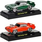 Ground Pounders 1969 Pontiac GTO 2pc Car Set WITH CASES 1/64 Diecast Model Cars by M2 Machines