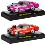 Ground Pounders 1969 Ford Mustang 2pc Car Set WITH CASES 1/64 Diecast Model Cars by M2 Machines