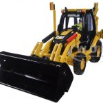 CAT Caterpillar 420E Center Pivot Backhoe Loader with Working Tools with Operator 1/50 Diecast Model by Diecast Masters