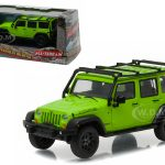 2013 Jeep Wrangler Unlimited Moab Edition Gecko Green with Roof Rack With Display Showcase 1/43 Diecast Model Car by Greenlight