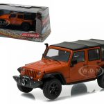 2014 Jeep Wrangler Unlimited Custom Copperhead Pearl with Snorkel With Display Showcase 1/43 Diecast Model Car by Greenlight