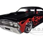 1969 Chevrolet Chevelle SS Black with Flames 1/24 Diecast Car Model by Jada