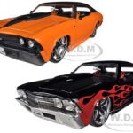 1969 Chevrolet Chevelle SS Black & Orange 2 Cars Set 1/24 Diecast Model Cars by Jada