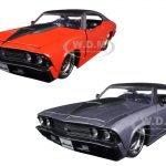 1969 Chevrolet Chevelle SS Orange With Matte Black Top and Hood Scoop & Grey With Matte Black Top and Hood Scoop 2 Cars Set 1/24 Diecast Model Cars by Jada