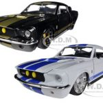 1967 Ford Shelby Mustang Gt-500 White with Blue Stripes & Black with Gold Stripes 2 Cars Set 1/24 Diecast Model Cars by Jada