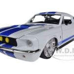 1967 Ford Shelby Mustang GT-500 White with Blue Stripes 1/24 Diecast Car Model by Jada