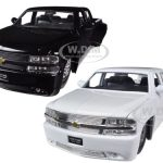 1999 Chevrolet Silverado Dooley White & Black 2 Trucks Set 1/24 Diecast Model Cars by Jada