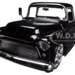 1955 Chevrolet Stepside Pickup Truck Black 1/24 Diecast Car Model by Jada