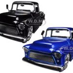 1955 Chevrolet Stepside Pickup Truck Blue & Black 2 Cars Set 1/24 Diecast Car Models by Jada