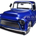 1955 Chevrolet Stepside Pickup Truck Blue 1/24 Diecast Car Model by Jada