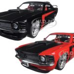 1970 Ford Mustang Boss 429 Black & Red 2 Cars Set 1/24 Diecast Model Car by Jada