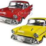 1957 Chevrolet Bel Air Yellow & Red Set 1/24 Diecast Car Models by Jada