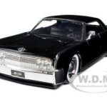 1963 Lincoln Continental Black With Baby Moon Wheels 1/24 by Diecast Model Car by Jada
