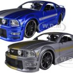 2006 Ford Mustang GT Grey & Blue 2 Cars Set 1/24 Diecast Model Cars by Jada