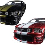 2006 Ford Mustang GT Black With Gold Stripes & Red With White Stripes 2 Cars Set 1/24 Diecast Model Cars by Jada