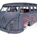1962 Volkswagen Bus Grey With Flames & Baby Moon Wheels 1/24 Diecast Car Model by Jada