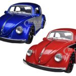 1959 Volkswagen Beetle Blue & Red 2 Cars Set 1/24 Diecast Car Models by Jada