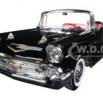 1957 Chevrolet Bel Air Convertible Black 1/18 Diecast Model Car by Road Signature