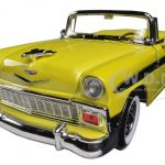 1956 Chevrolet Bel Air Convertible Yellow/Black 1/18 Diecast Car Model by Road Signature