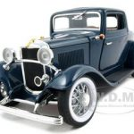 1932 Ford 3 Window Coupe Blue 1/18 Diecast Car Model by Road Signature