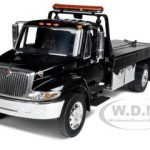 International Durastar 4400 Flat Bed Tow Truck Black With Chrome Bed 1/24 Diecast Model by Jada