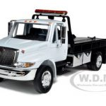 International Durastar 4400 Flat Bed Tow Truck White With Chrome Bed 1/24 Diecast Model by Jada
