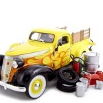 1937 Studebaker Pickup Yellow With Accessories 1/24 Diecast Car by Unique Replicas