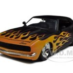 1968 Chevrolet Camaro Matt Black With Flames 1/18 Diecast Model Car by Jada