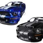 2008 Ford Mustang Shelby GT500KR Black & Blue 2 Cars Set 1/24 Diecast Car Models by Jada
