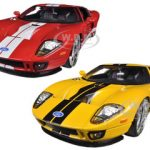 2005 Ford GT Yellow & Red 2 Cars Set 1/24 Diecast Car Models by Jada