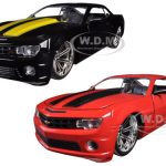 2010 Chevrolet Camaro SS Black With Yellow Stripes & Red With Black Stripes 2 Cars Set 1/24 Diecast Model Cars by Jada