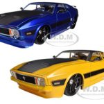 1973 Ford Mustang Mach 1 Blue & Yellow 2 Cars Set 1/24 Diecast Model Cars by Jada