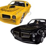 1972 Pontiac Firebird Trans Am Yellow & Black 2 Cars Set 1/24 Diecast Car Models by Jada