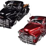 1951 Chevrolet Pickup Truck Lowrider Black & Red 2 Trucks Set 1/24 Diecast Models by Jada