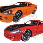 2008 Dodge Viper SRT10 Orange and Red 2 Cars Set 1/24 Diecast Models by Jada