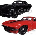 1963 Chevrolet Corvette Stingray Red & Black 2 Cars Set 1/24 Diecast Model Cars by Jada