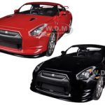 2009 Nissan GT-R R35 Red & Black 2 Cars Set 1/24 Diecast Car Model by Jada