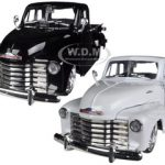 1953 Chevrolet 3100 Pickup Truck White & Black 2 Cars Set 1/24 Diecast Car Models by Jada