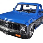 1972 Chevrolet Cheyenne Pickup Truck Blue / Silver 1/24 Diecast Model by Jada