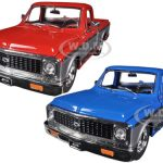 1972 Chevrolet Cheyenne Pickup Truck Blue & Red 2 Trucks Set 1/24 Diecast Models by Jada