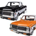 1972 Chevrolet Cheyenne Pickup Truck Orange & Black 2 Cars Set 1/24 Diecast Car Models by Jada
