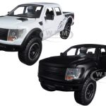 2011 Ford F-150 SVT Raptor Matt Black & White 2 Pickup Trucks Set 1/24 Diecast Models by Jada