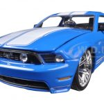 2010 Ford Mustang GT Blue With White Stripes 1/24 Diecast Model Car by Jada