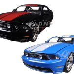 2010 Ford Mustang GT Black With Red Stripes & Blue With White Stripes 2 Cars Set 1/24 Diecast Model Car by Jada